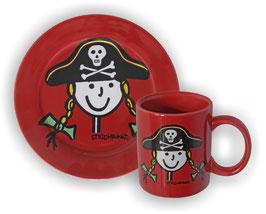 Teller u. Becher im Set, Strichpunkt-Piratin, Rot