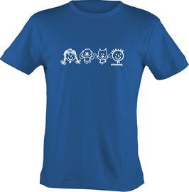 T-Shirt, unisex, Strichpunkt-Reihe Hund u. Katze,  Aufdruck vorne