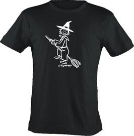 T-Shirt, unisex, Strichpunkt-Hexe,  Aufdruck vorne