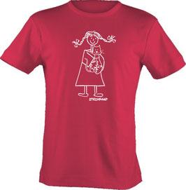 T-Shirt, unisex, Strichpunkt-Mädchen m. Katze,  Aufdruck vorne