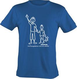 T-Shirt, unisex, Strichpunkt Nie alleine  Aufdruck vorne