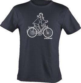 T-Shirt, Strichpunkt-Fahrradfahrerin,  Aufdruck vorne