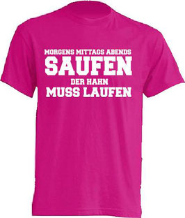 Hahn muss laufen Shirt Pink