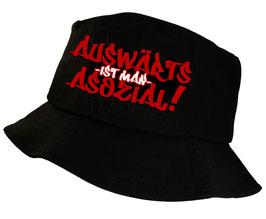 Fischerhut Auswärts ist man asozial Schwarz /rot