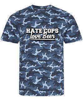 Hate Cops-Love Beer Camouflage Blau Shirt