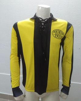 Dortmund Retro Trikot gelb schwarz mit schwarzen Schnüren