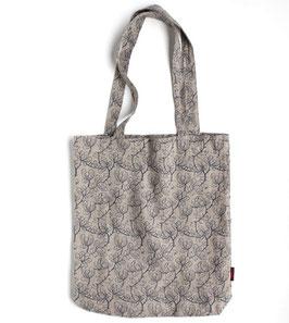 リトアニア製 リネントートバッグ 《花プリント ネイビー》
