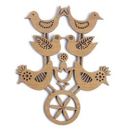 Etno Design(エトノデザイン) 木製オーナメント マグネット《六羽の鳥》