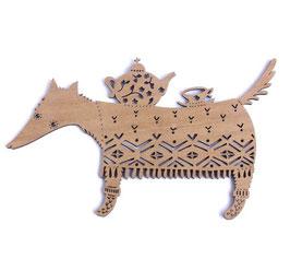 Etno Design(エトノデザイン) 木製オーナメント《オオカミ》