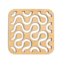 木製コースター スクエア《幾何学模様D》