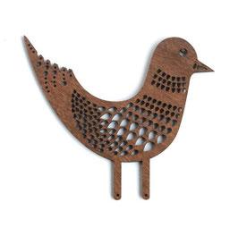 Etno Design(エトノデザイン) 木製オーナメント マグネット 《春告げ鳥 ブラウン》