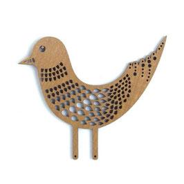 Etno Design(エトノデザイン) 木製オーナメント マグネット 《春告げ鳥 ベージュ》