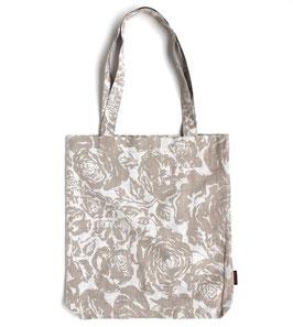 リトアニア製 リネントートバッグ 《花プリント オフホワイト》