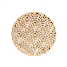 木製コースター ラウンド《青海波》