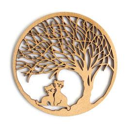 木製コースター ラウンド《木陰の猫》
