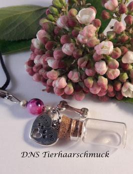 Fläschenanhänger mit Pink Perle