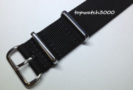 Nato Textil Armband Black Silver Buckle