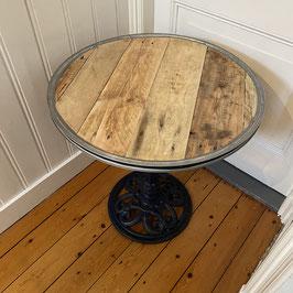Bistro tafel van pallethout & gietijzeren vintage onderstel
