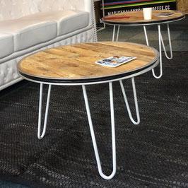 Lage tafel van pallethout & stalen witte poten