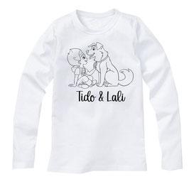 T-shirt B Wit / Zwart (lange mouw)