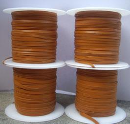 Lacet plat de cuir végétal saddle tan - Kangourou - Haut de gamme