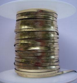 Lacet plat de cuir tannage végétal or 3 mm - Kangourou - Haut de gamme