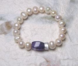 Perlenarmband weiss ca. 9-11 mm / Amethyst Vierkant / Silberscheibe