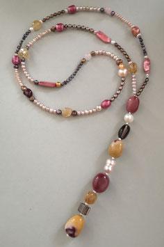 """Y-Kette """"Summertime"""" - aus Perlen in pink, rosé und braun mit Citrin, Rauchquarz, Rosenquarz und Mokait"""