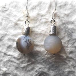 Ohrringe Achat matt 12mm / Silberwalze / 925er Silber