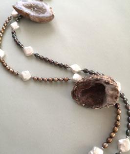 """Ketten """"Every Day"""" -  Süßwasserzuchtperlen in Reiskornform mit rautenförmigen Perlen in weiß - ca. 44,5 cm lang"""