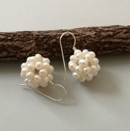 Ohrringe Perlkugel weiß ca. 16-17 mm / 925er Silber
