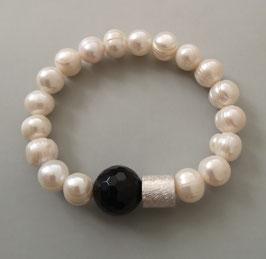 Perlenarmband weiß ca. 10-11 mm / Onyx facettiert / Silberwalze