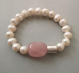 Perlenarmband weiß ca. 9,5-10,5 mm / Rosenquarz / Silberwalze