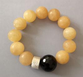 Armband Calcit 16,5 mm / Onyx facettiert / Silberscheibe