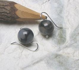 Ohrringe Netzachat schwarzweißgrau 14 mm / 925er Silber