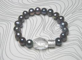 Perlenarmband blau ca. 10-12 mm / Bergkristall / Silberwalze