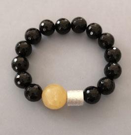Armband Onyx facettiert 12 mm / Calcit / Silberwalze