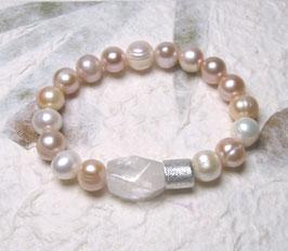 Perlenarmband multicolor ca. 10-11 mm / Bergkristall / Silberwalze