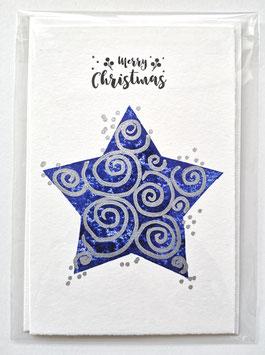 Merry Christmas - BLUE STAR - 10,5 x 15,5 cm - einzeln oder im günstigen 3er-Pack