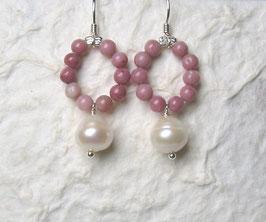 Ohrringe Rhodonit / Perle weiß / 925er Silber
