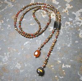 Y-Kette Unique Golden Eye - goldbraune Perlen gepaart mit Carneol und Tigerauge