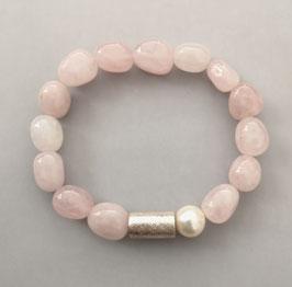 Armband heller Rosenquarz ca. 9-10 mm / Perle weiß / Silberwalze