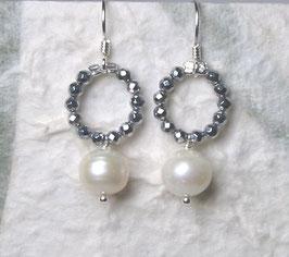 Ohrringe Hämatit silber / Perle weiß / 925er Silber