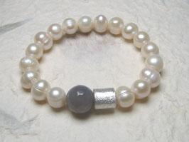 Perlenarmband weiß ca. 10 mm / Achat / Silberwalze