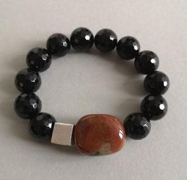 Armband Onyx facettiert ca. 14 mm / Japis rötlichbraun u. natur / Silberwürfel