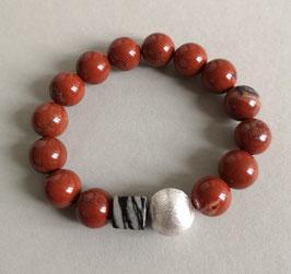 Armband Jaspis rot ca. 12 mm / Würfel aus Jaspis grauschwarz / Silberkugel