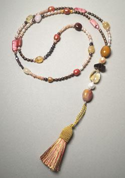 """Quastenkette """"Golden Summer"""" - Y-Kette aus Perlen in pink, rosé und braun mit Citrin, Rauchquarz, Rosenquarz und Mokait"""