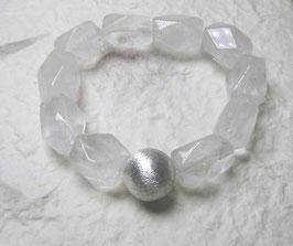 Armband Bergkristall facettiert ca. 12-14 mm / Silberkugel