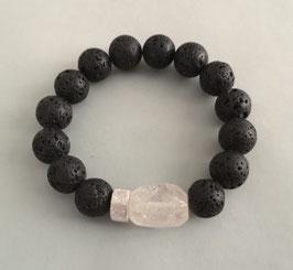 Armband Lava schwarz ca. 12,5 mm / Bergkristall / Silberscheibe