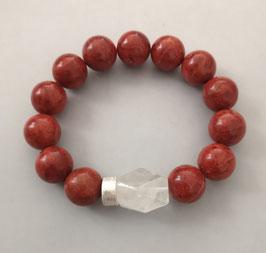 Armband Schaumkoralle  14 mm / Bergkristall / Silberscheibe
